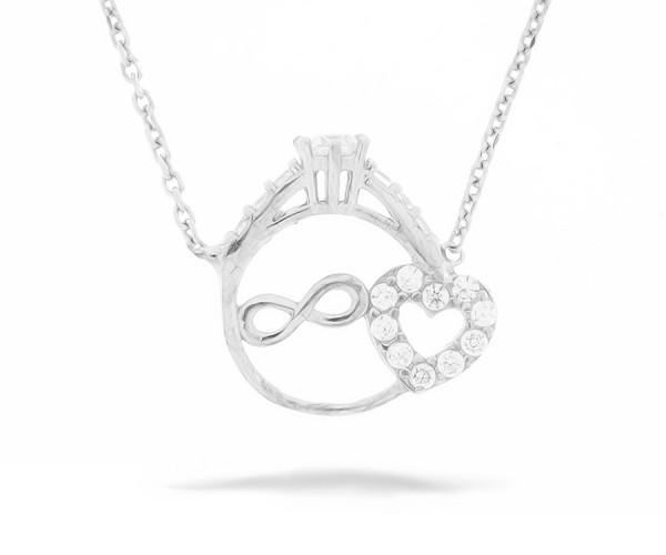 Halskette in 925´er Ring Infinity und Herz