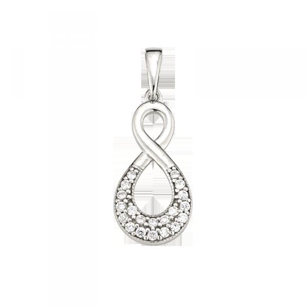 Anhänger in 925 er Sterling Silber in Unendlichkeit Form mit Zirkonia