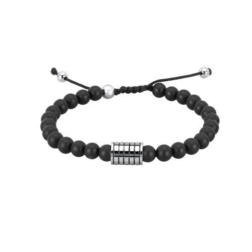 Armband aus Steinen mit Edelstahl Element