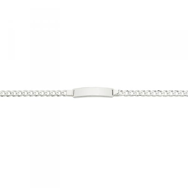 ID Armband in 925´er Sterling Silber mit einer großen Gravierplatte und einer Zwischenöse