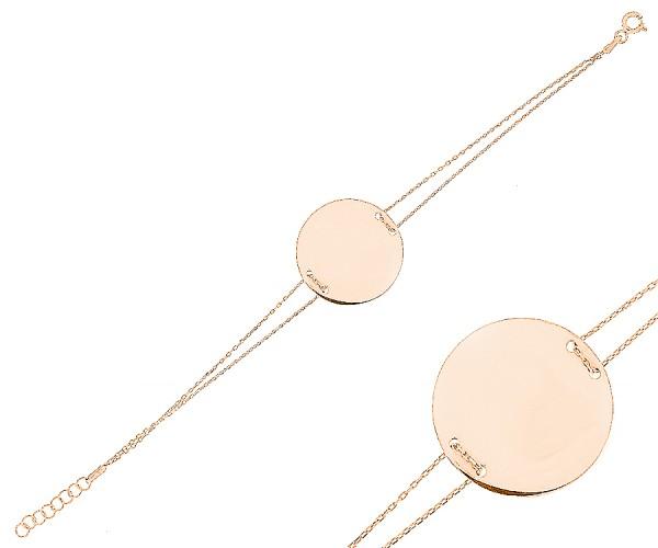Damenarmband mit runder Gravurplatte aus 925er Silber 16-18 cm 20168