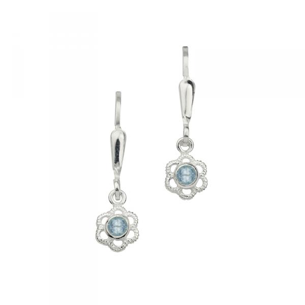 Sehr Schöne Ohrhänger in 925´er Sterling Silber in Blumenform mit Blauen Steinen
