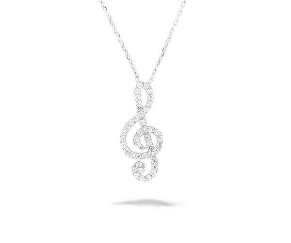 Halskette mit Anhänger Musiknote 925'er Silber