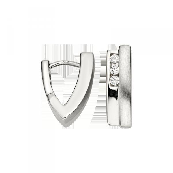 Creole in 925´er Sterling Silber mit Zirkonia und außergewöhnlichem Design