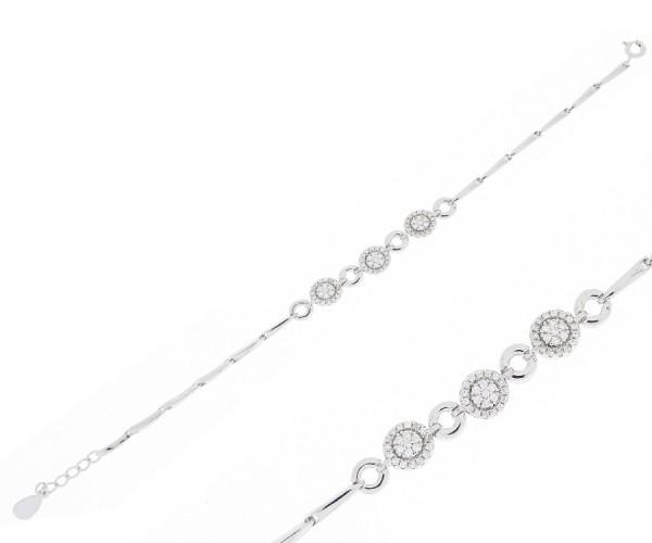 2019 heißer verkauf online zum Verkauf am besten bewertet neuesten 925`er Silber Damen Armband mit Zirkonia Steinen