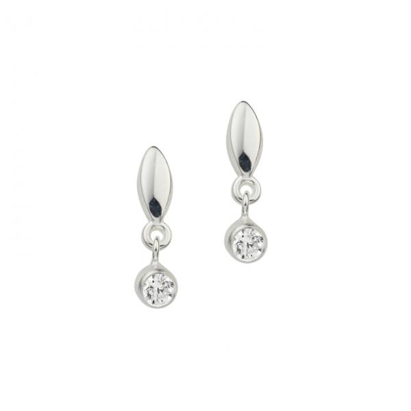 Ohrstecker in 925´er Sterling Silber mit weißen Zirkonia Steinen