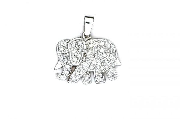 Elefantenanhänger mit Steinen Silber