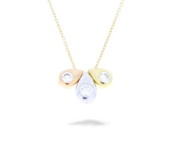 Halskette mit 3 Tropfen in 585er Gold 50262