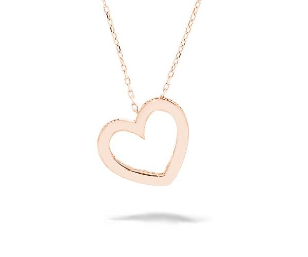 Halskette mit Anhänger Herz 925'er Silber rosê