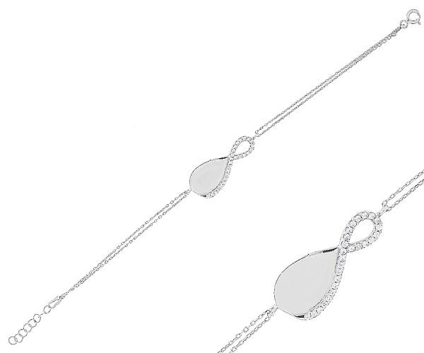 Damenarmband Infinity mit Gravur aus 925 er Silber 16-18 cm 20169