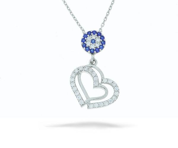 Halskette Herz mit einem Nazar Amulett