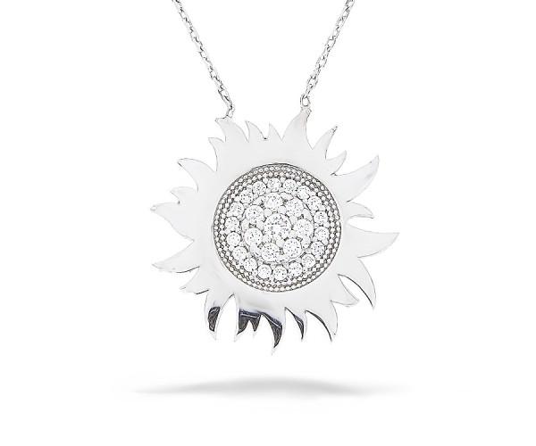 Halskette in 925´er Sonne mit Stein