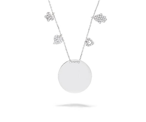 Gravurplatte Halskette mit Symbolen 925'er Silber