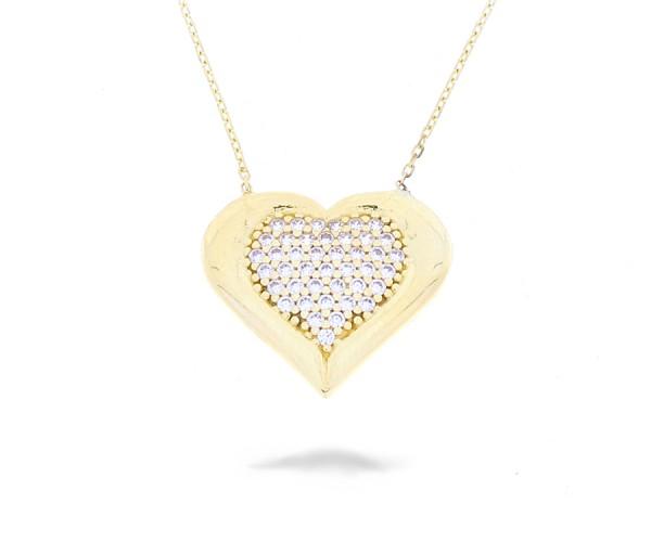 Halskette Herz mit Steinen in 585er Gold 50255