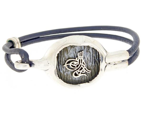 Herrenarmband aus Leder u. Silber 'Osmanlı Tuğrası', 27 cm