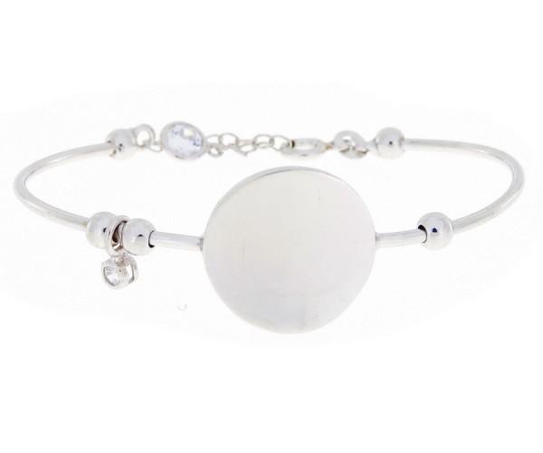 Damen Armband mit runder Gravurplatte aus 925er Silber