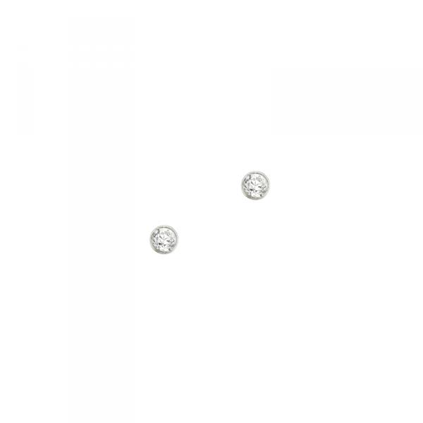 Ohrstecker in 925´er Sterling Silber mit einem kleinen weißen Stein