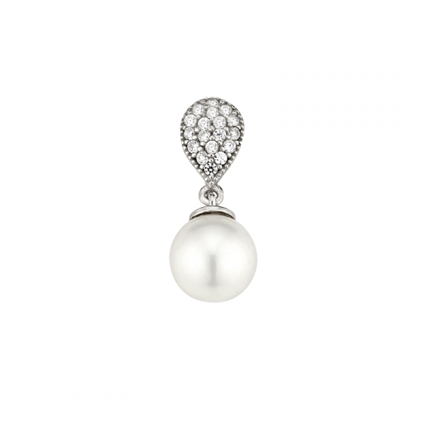 Anhänger in 925 er Sterling Silber mit hängender Perle und einer Zirkonia Platte