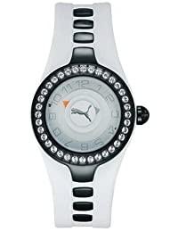 Puma Posh Damenuhr - Weißes Kautschukarmband - 36 Kristalle - PU23575-0222-937