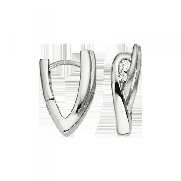 Creole in 925´er Sterling Silber mit Zirkonia Steinen und einem V Design