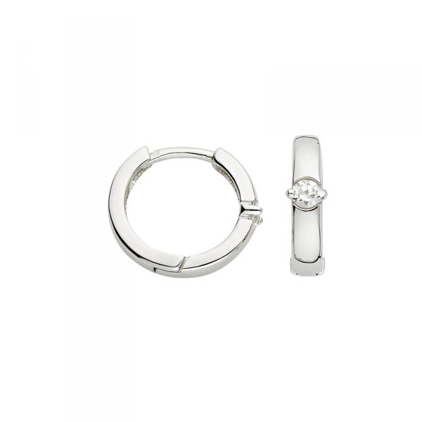 Creolen in 925´er Sterling Silber mit einem modischen weißen Stein