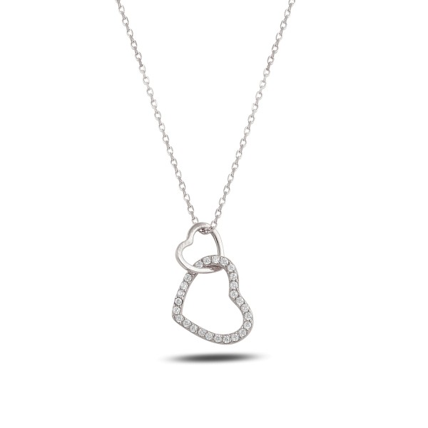 Modische 925´er Sterling Silber Halskette mit Herzen
