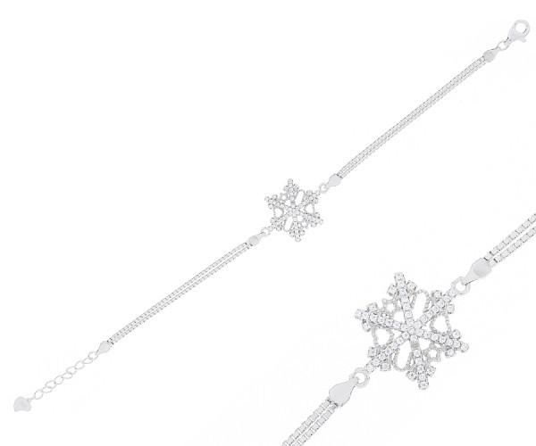 925`er Silber Damen Armband mit Schneeflocke aus Zirkonia Steinen