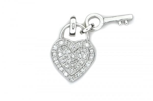 Silberanhänger Herz u. Schlüssel