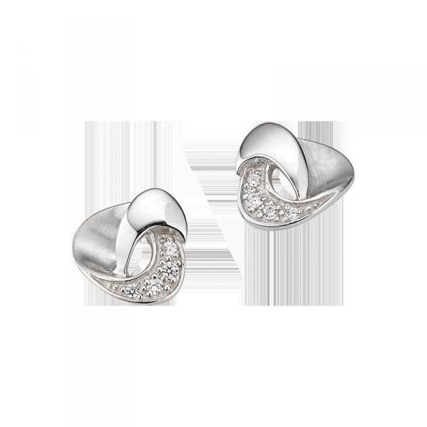 Ohrstecker in 925´er Sterling Silber in einem abgerundetem Dreieck Design