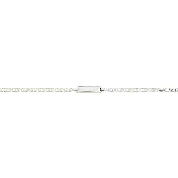 ID Armband in 925´er Sterling Silber im schlichtem Design mit Fantasiekette