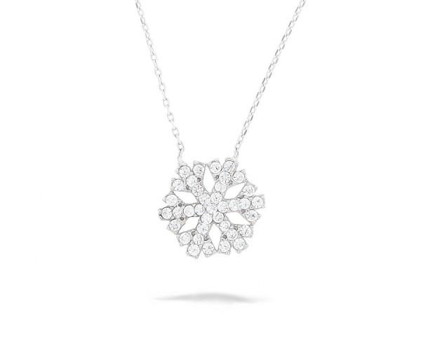 Halskette mit Anhänger Schneeflocke in Silber