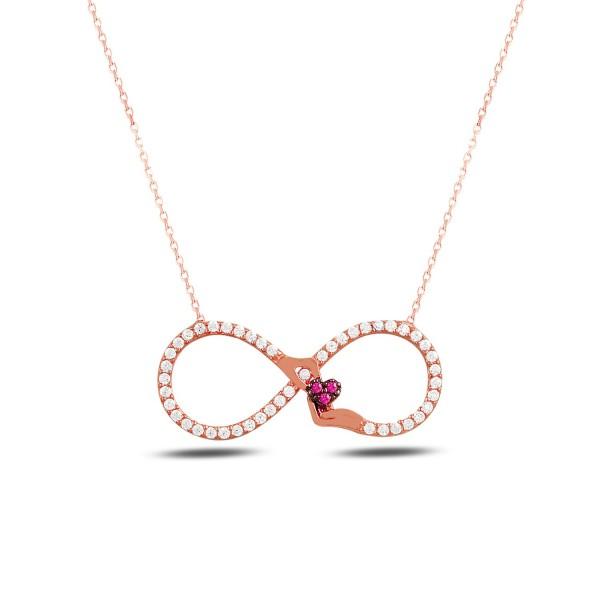 925´er Silber Halskette rose vergoldet mit Unendlich-Anhänger
