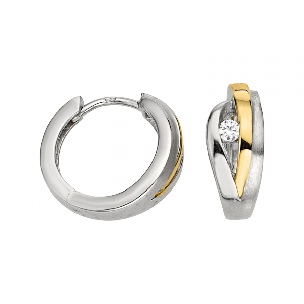 Creole in 925´er Sterling Silber mit Zirkonia Steinen und goldener Farbe