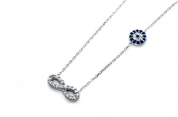 Infinity Unendlich Nazar Armulett Armband 17 cm