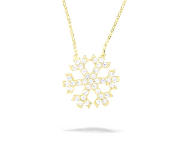 Halskette mit Anhänger Schneeflocke vergoldet