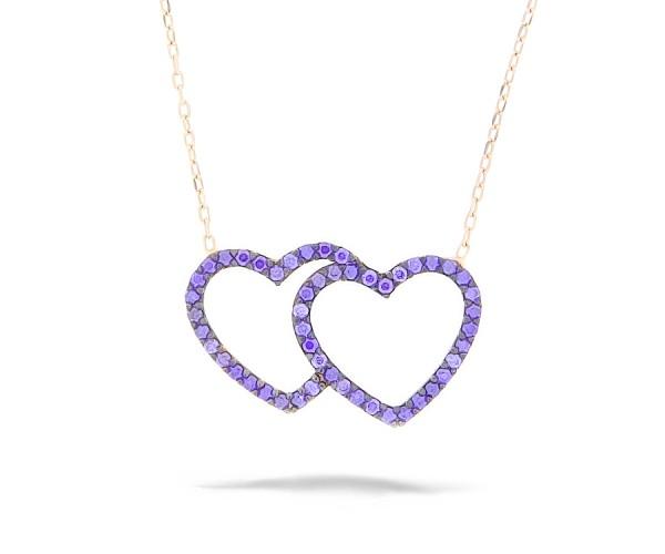 Halskette mit Anhänger mit Herzen 925'er Silber rosê