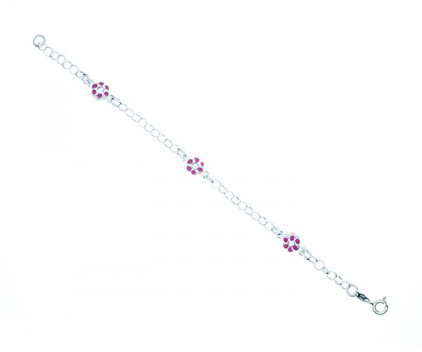 Armband Ankerkette mit Blumen 17 cm