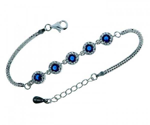 Armband Venezianerkette mit 5 blauen Steinen 19 cm