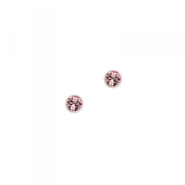 Ohrstecker in 925´er Sterling Silber mit einem syntetischem Stein in der Farbe rosé