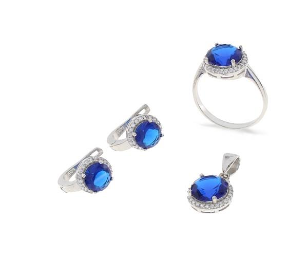 Set mit Ohrstecker Ring und Kette aus 925er Silber