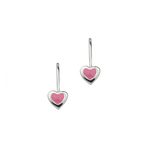Schöne Ohrhänger in 925´er Sterling Silber mit Rosa Lack