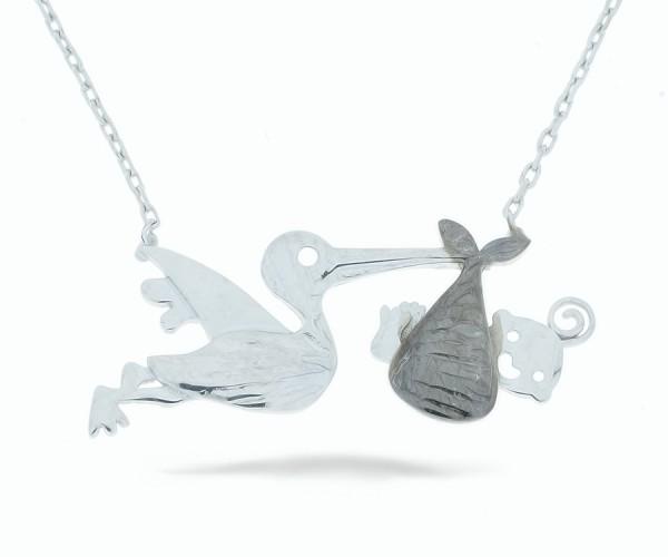 Halskette in 925´er Storch mit Baby
