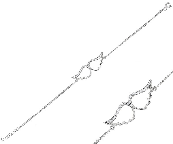 Damenarmband mit zwei Engelsflügel aus 925er Silber 17-19 cm 20170