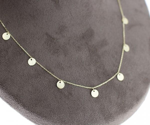 585´er Gelbgold Halskette mit runde hochglanz plättchen