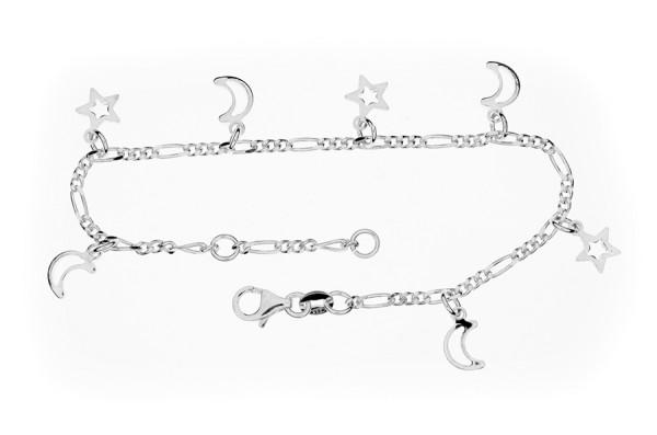 Armband Figarokette mit Sternen u. Halbmond 18 cm