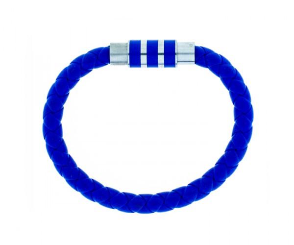 Kautschukarmband blau mit Stahlverschluss 19 cm