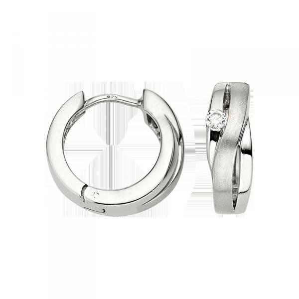 Creole in 925´er Sterling Silber mit Zirkonia Stein und mattierter Oberfläche