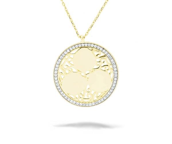 Halskette mit Zirkonia 925'er Silber Vergoldet