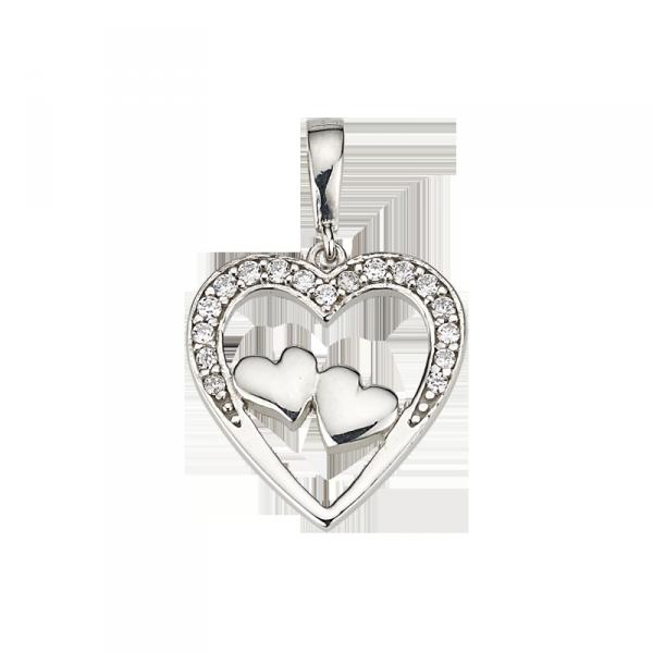 CEM Herzanhänger in 925´er Sterling Silber mit Zirkonia