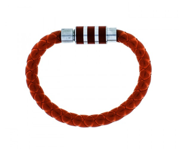 Kautschukarmband rot mit Stahlverschluss 21cm